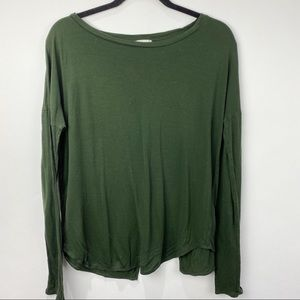 Wilfred green long sleeve top with crossover back